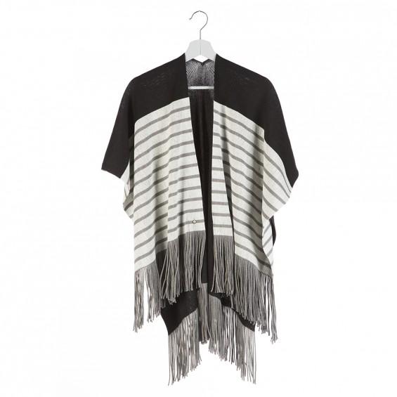 Poncho Salomé Noir gris - Maison Bonnefoy 03e6b188d85