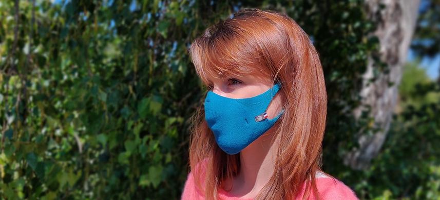 Masque Coronavirus Femme Bio Bleu Paon Hippocrate